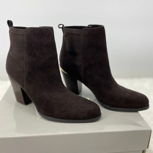 Marc Fisher Leather Stretch Ankle Brown Boots NEW